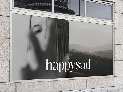 Happysad Brand Identity agency studio high quality simple wordmark ligature brand type typography outer logo identity branding minimal design