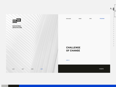 Educational Architecture Web Design screen split home page landing web website ux ui motion interaction grid design conference branding architecture gif animation