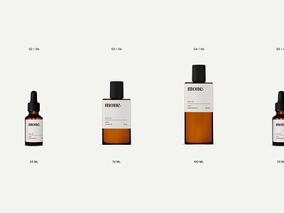 Mone Natural Skincare Brand Packaging packaging design light liquid minimal grid design label bottles skincare video gif motion animation packaging