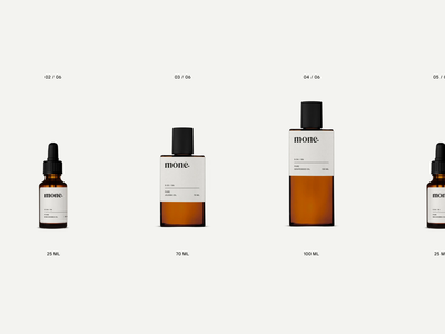 Mone Natural Skincare Brand Packaging packaging design light liquid minimal grid design label bottles skincare video gif motion animation packaging