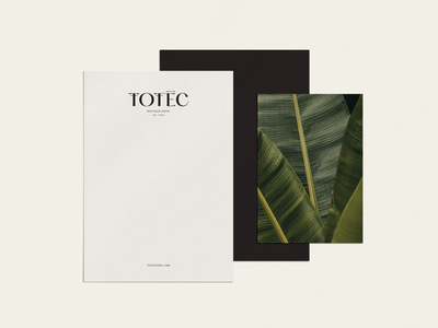 Totec Hotel Branding outer hotel boutique stationery design material design word mark wordmark brand identity natural nature minimal type logotype stationery icon logo identity branding