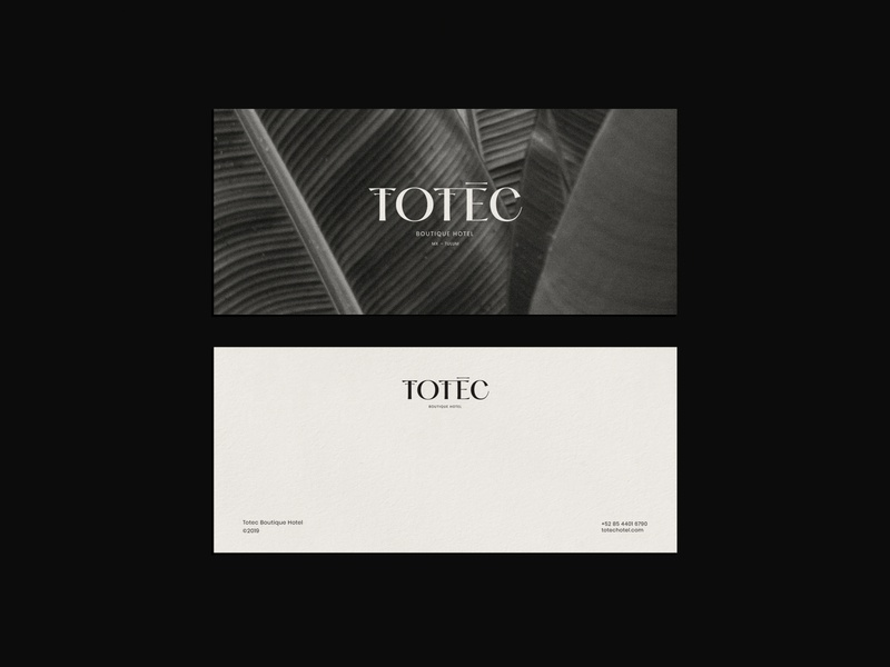 Totec Hotel Branding graphic stationery outer warm nature boutique logotype wordmark word mark hotel minimal icon logo identity typography branding design