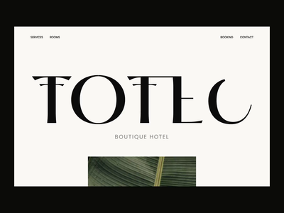 Totec Boutique Hotel Web Design hotel boutique direction art page landing interface user ux outer ui website minimal web interaction icon logo identity design branding