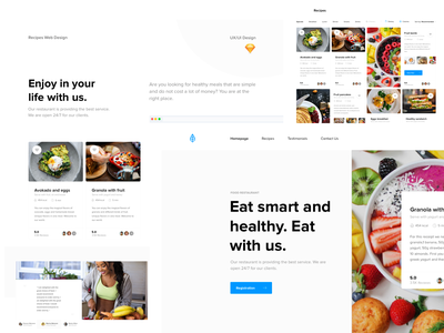 Food Project - Enjoy with us - Web Design branding design ux ui restaurant meal landingpage webdesig healthyfood food and drink uiux webdesign healthy food