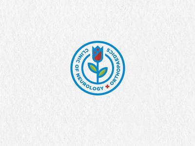 Clinic of neurology and orthopaedics. flower design graphic medical brain plant orthopaedics neurology clinic logo