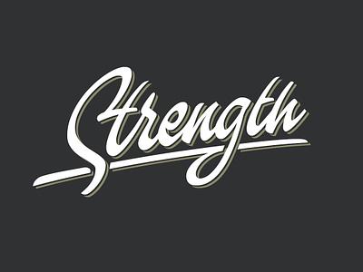 Strength wordmark calligraphy typography vector brush design script letters logo lettering