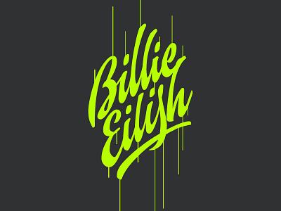 Billie Eilish wordmark typography calligraphy vector logotype design billie eilish brush script type letters logo lettering