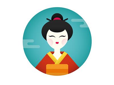 geisha blue red girl oriental style illustration icon woman sticker graphic geisha japan