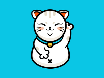 Lucky Cat kitty smile blue cute graphic icon ai illustration lucky cat