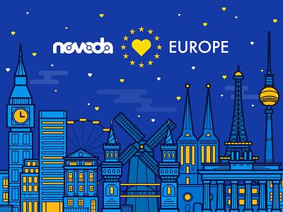 Novoda Loves Europe mill germany paris london buildings heart love night graphic illustration europe eu