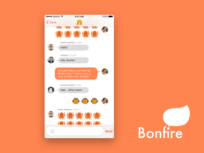 Bonfire bubble ios app interface graphic orange messaging chatting message bonfire ui emoji