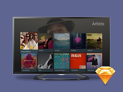 Android TV UI Kit . Sketch big screen material design template ui kit freebie sketch screen design ui tv android android tv