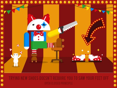 Open Close Princile solid principle poster novoda shoes illustration graphic circus clown android