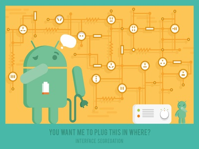 Interface Segregation Principle solid principle poster novoda illustration sockets graphic android
