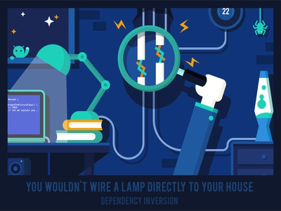 Dependency Inversion Principle solid principle poster novoda illustration night wires graphic evening android
