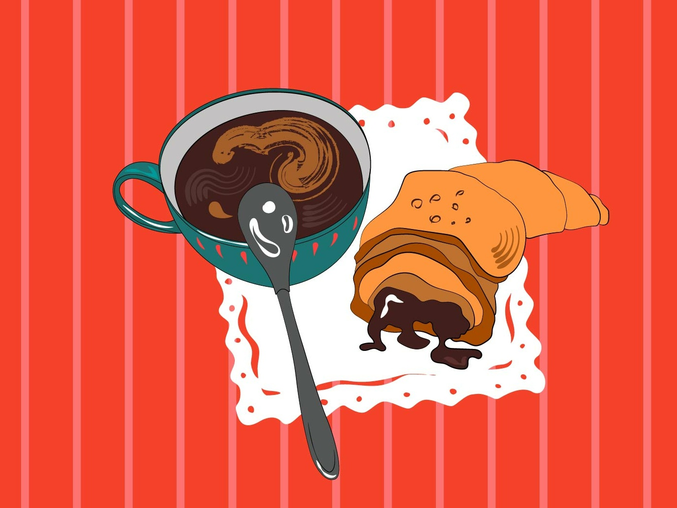 All you need is coffee... and croissant cup of tea coffee shot illustration living coral coral good day dribbble cup of coffee cup breakfast croissant