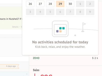 Nutshell web app design empty state calendar activities colors nushell