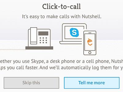 Nutshell web app design illustration onboarding modal nutshell click-to-call