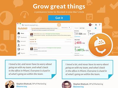 Nutshell web design landing page orange nutshell mac app