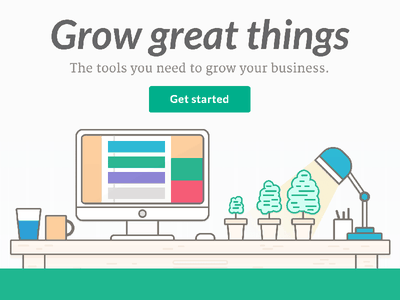 Nutshell web design growgreatthings crm illustration desk landing page