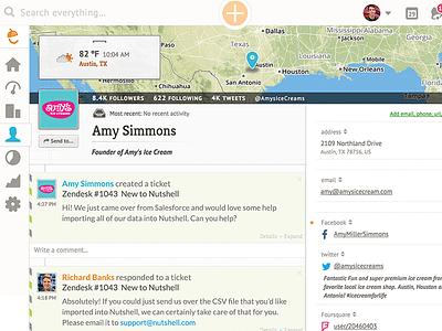 Nutshell web app design crm social nutshell integration zendesk map ux ui