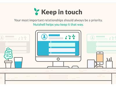 Nutshell web design grow great things desk landing page illustration nutshell responsive web design