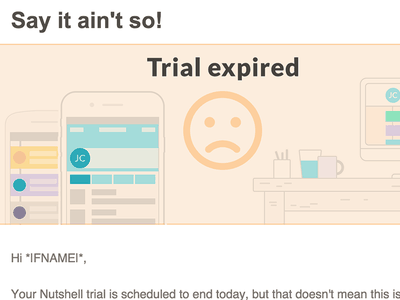 Nutshell email design peach illustration desk nutshell trial expired email