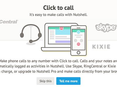 Nutshell UI design illustration skype click to call modal