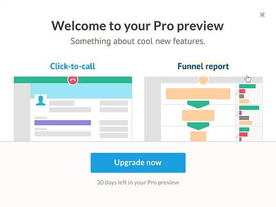 Nutshell UI Design upgrade illustration pro preview modal nutshell pro plan