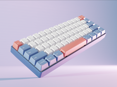 Okimochi - Mech Keyboard Render keys design ux ui illustration landing page graphic  design 3d 3d art blender 3d modern keyboard blender