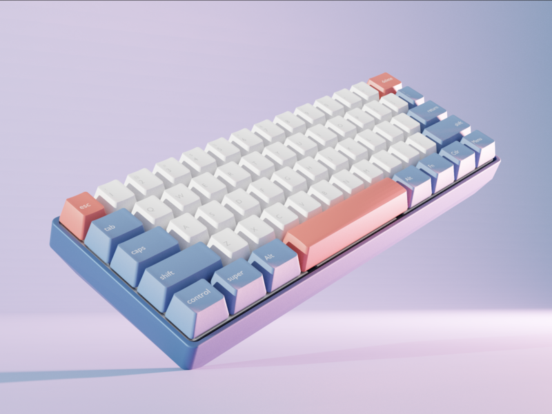 Okimochi - Mech Keyboard Render keys design ux ui illustration landing page graphic  design 3d 3d art blender 3d modern keyboard blender