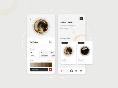 Coffee App modern typography coffee mobile design landing page website design graphic  design dailyui ui ux ui ux