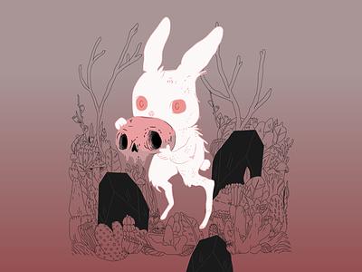 Evil Bunny George fall evil bunny graphic  design illustration halloween
