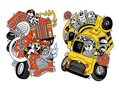 Fire Truck! Bus! children book illustration cartoon character abstract childrens book kidlit kidlitart kids book kids school bus fire truck
