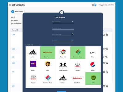 Modal mockup of a web app