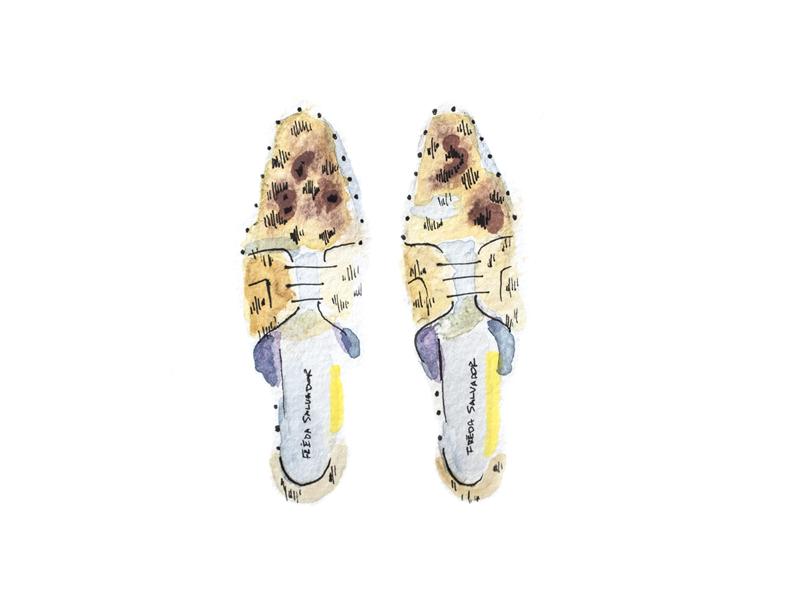 Leopard Oxfords portraits shoes watercolors