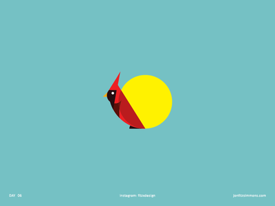 Daily Logo 06 - Cardinal dailylogochallenge dailylogo sun animal cardinal bird challenge daily identity branding mark logo