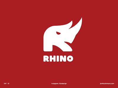 Daily Logo 10 - R + Rhino dailylogochallenge dailylogo rhino r letter animal challenge daily identity branding mark logo