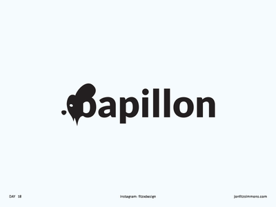 Daily Logo 18 - Papillon Dog dailylogochallenge dailylogo wordmark logotype papillon dog challenge daily identity branding mark logo