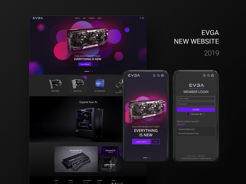 EVGA Web Design webdesign website web ui design dark pc gaming evga