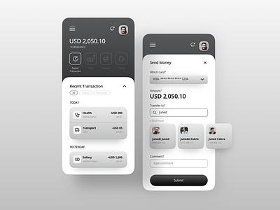 Black and White Fintech Mobile App - Concept vector mobileapp uidesign design sketch fintech app uiux mobile