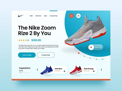 Nike Zoom Rize 2 By You Landing Page Redesign Concept nike webdesign landingpage visualdesigner visualdesign uxdesigner uidesigner uxdesign uidesign uiux ux ui