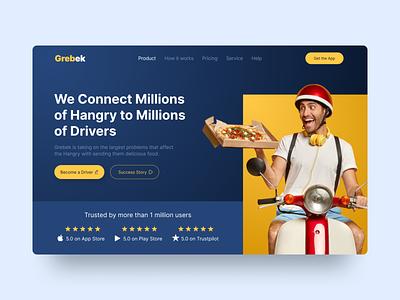 Grebek   Food Delivery App Website app food delivery website design landing page figma uidesigner uidesign uiux ux