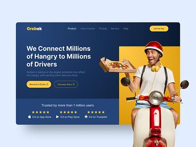 Grebek | Food Delivery App Website app food delivery website design landing page figma uidesigner uidesign uiux ux