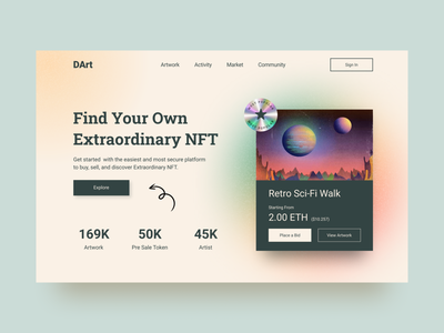 DArt | NFT Marketplace Website Design website header hero image cryptocurrency web design website design design ux uidesigner uidesign ui uiux