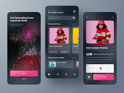 Event Finder Mobile App Concept Black Mode dark mode ios ticket entertaiment festival music charity ticket booking booking event event app ux ui mobile design app