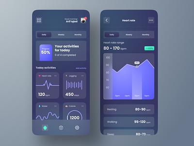 Health Tracker Mobile App Dark Mode product design health tracker dark mode mobile app user interface app design mobile ui ux ios clean