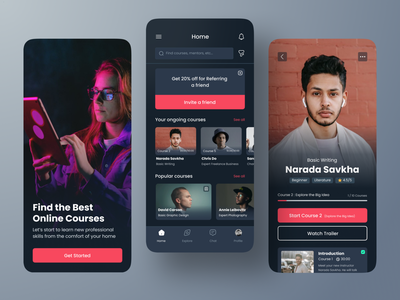 Online Course Mobile App UI Dark Mode product design mobile app ux clean onlinelearning online course ios userinterface mobileui ui
