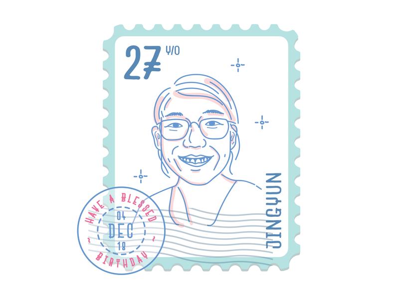 A Birthday Wish stamp portrait illustration portrait portrait art vector illustration design