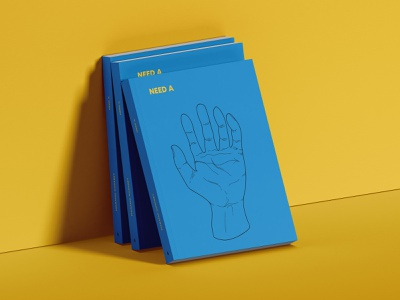 Need A Hand Book Cover illustrator photoshop illustration branding yellow blue mockup book cover book design